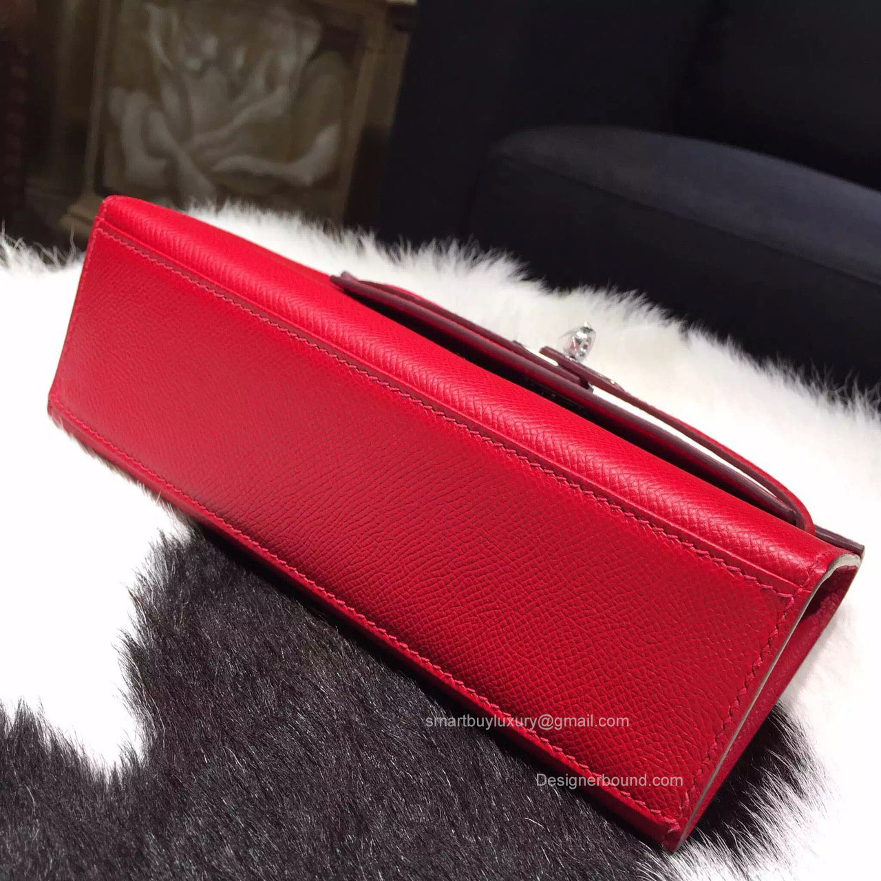 hermes kelly wallet - Hermes Mini Kelly Pochette 22 Epsom Leather Rouge Casaque ...