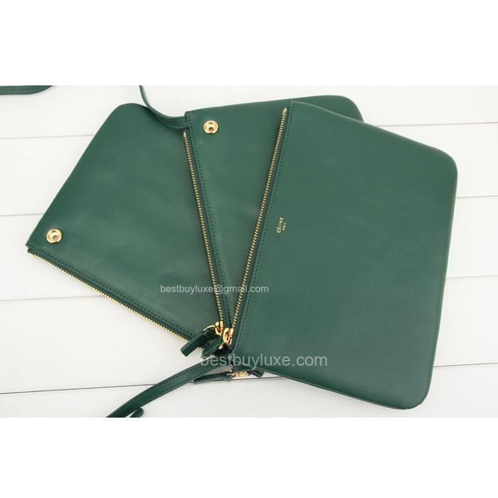 sac celine luggage - Fake Celine Trio Crossbody Bag in Green Calfskin - Replica Celine