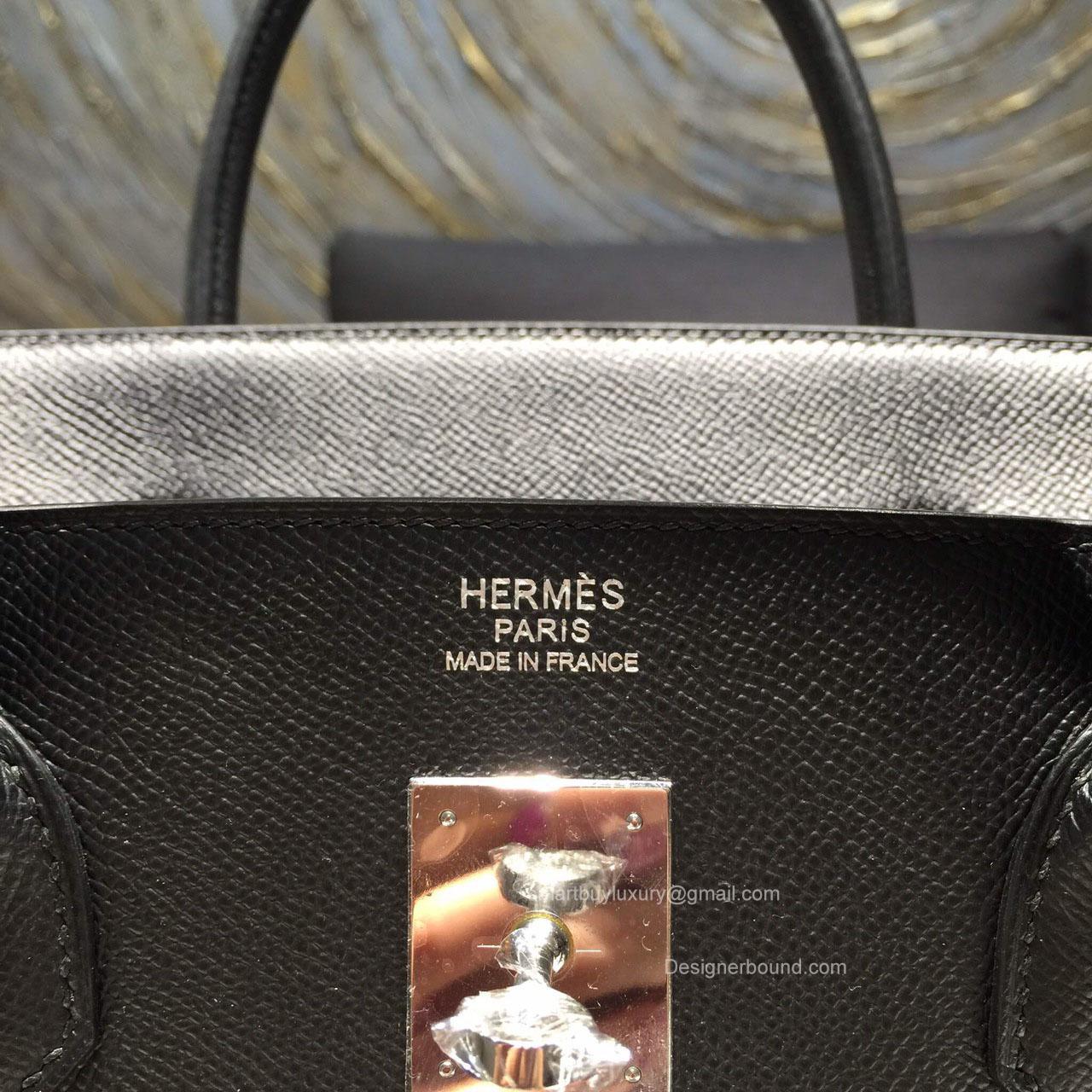 Hermes Birkin 40 Black Epsom Leather Bag Handstitched Silver hw -