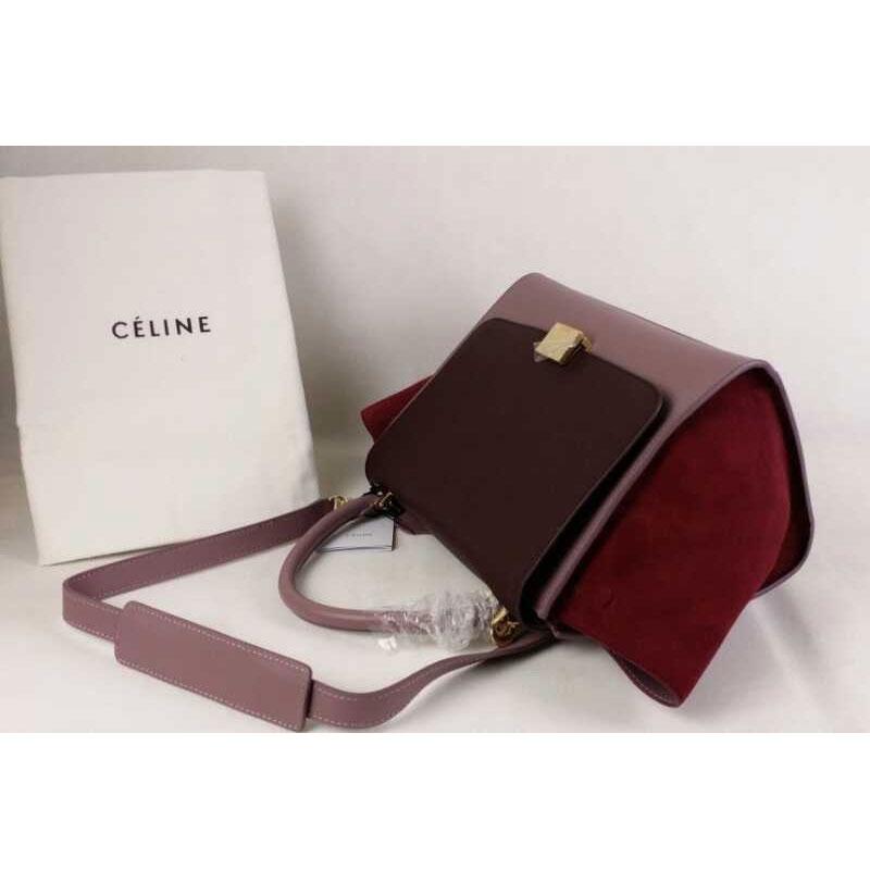 Celine Burgundy Suede Handbag Tze
