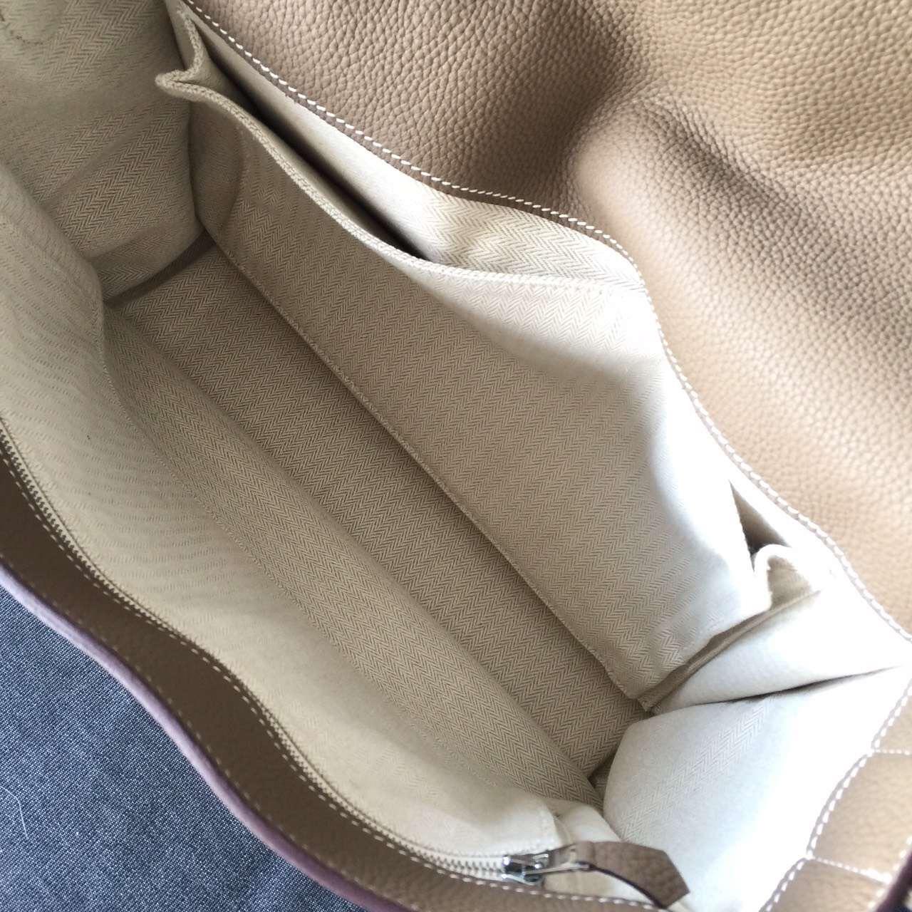handbag with h on it - Hermes Steve Messenger Bag Etoupe CK18 Leather Handstitched Silver ...