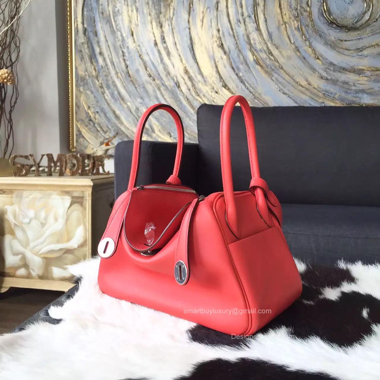 hermes red exotic leathers handbag lindy