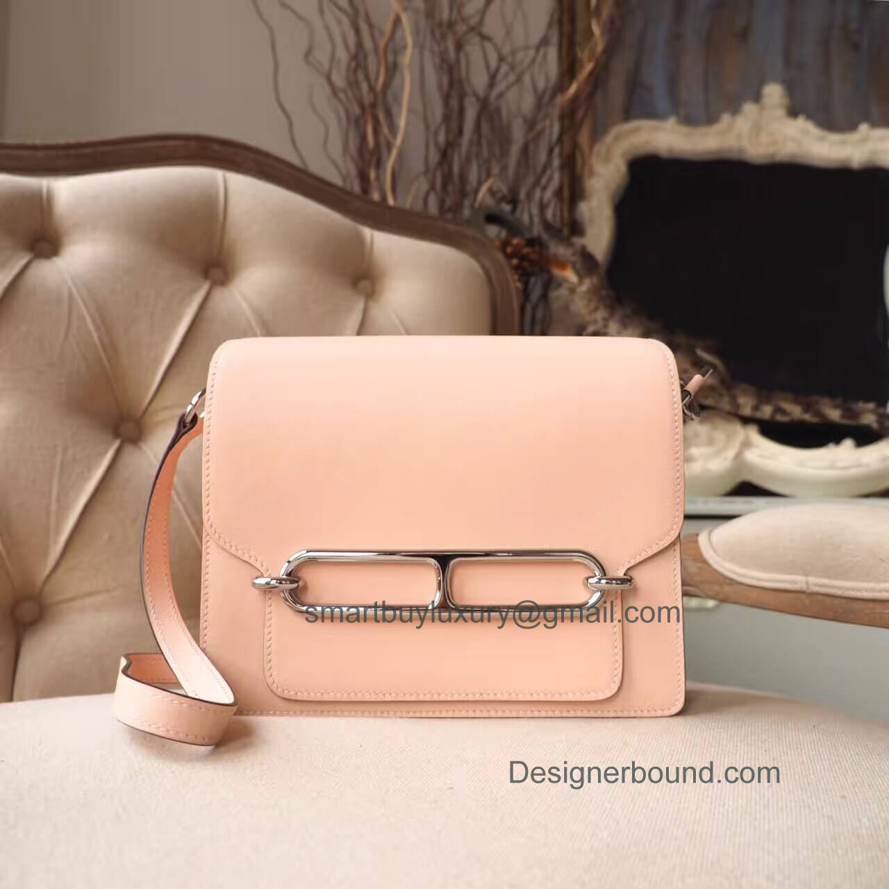 Hermes Roulis 23 Bag White Stitching in p1 Rose Eglantine Evercolor PHW