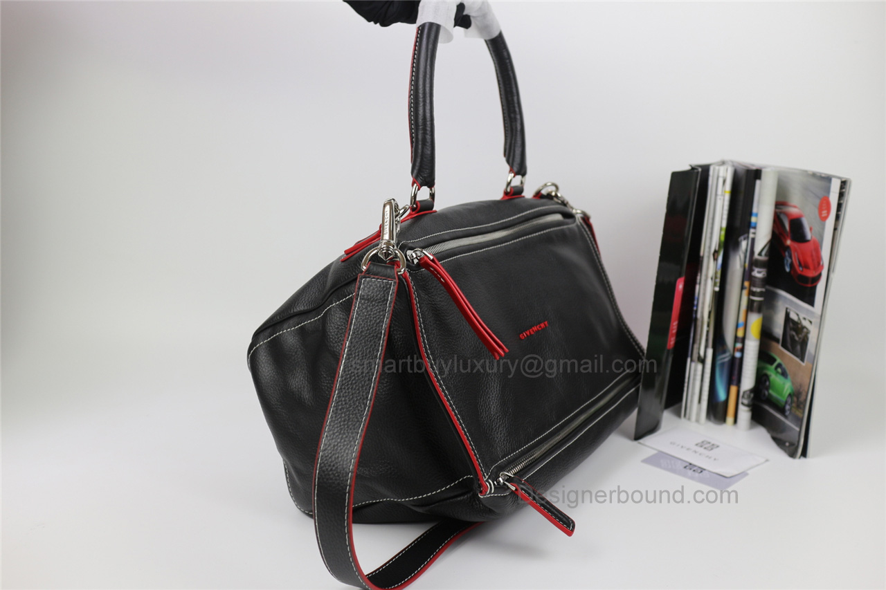 786ce8ccbeff Givenchy Pandora Large Handbag in Black Lambskin with Red Piping -