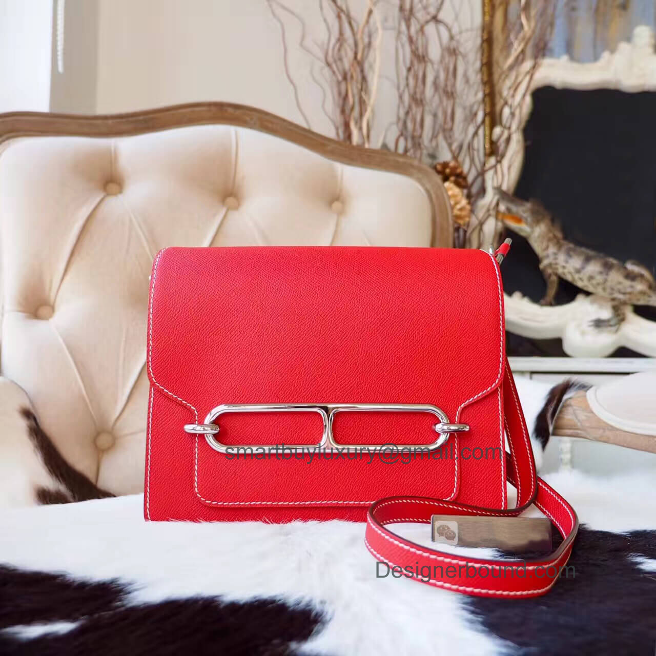 Hermes Roulis 23 Bag in q5 Rouge Casaque Epsom PHW