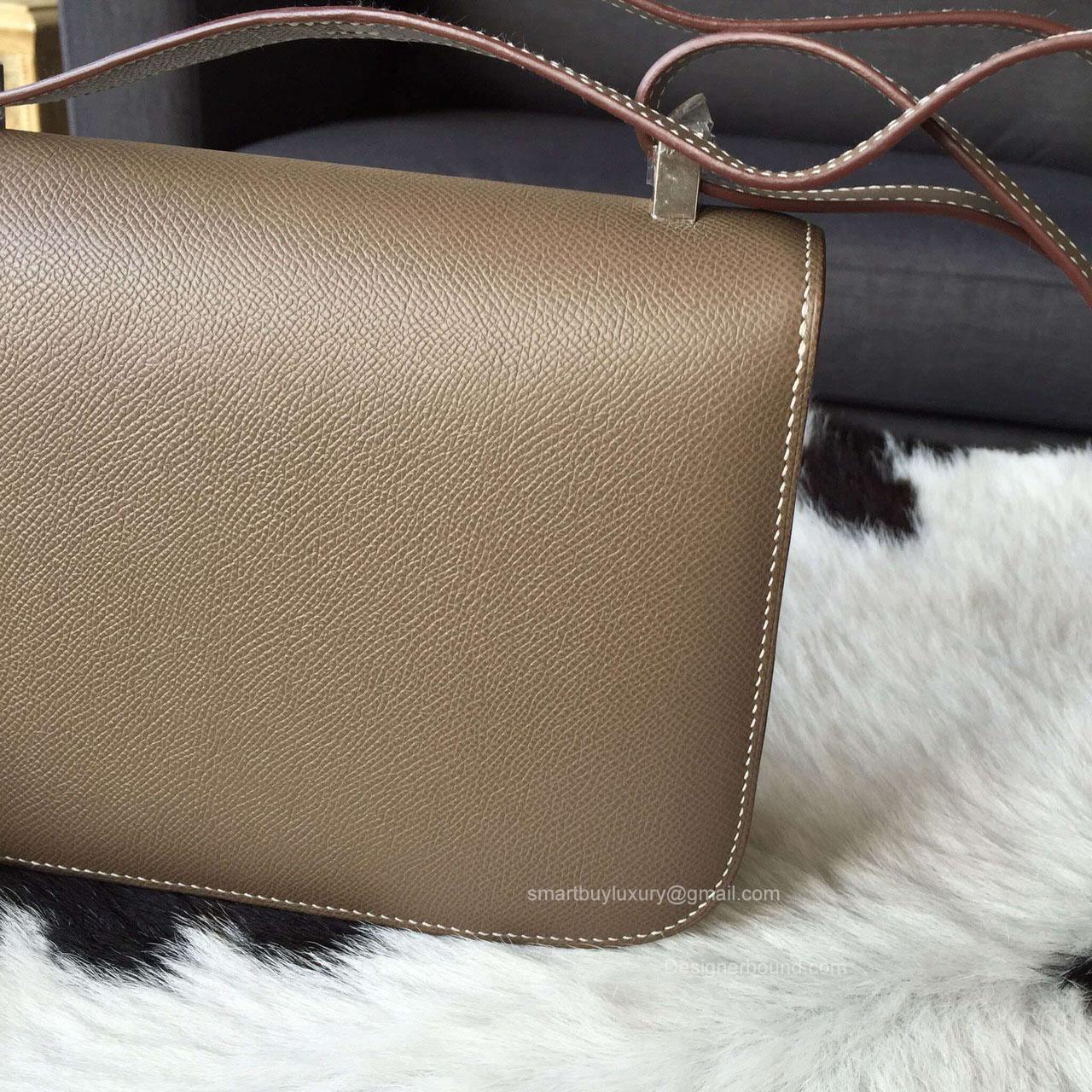 replica birkin bags - Hermes Constance 23 Bag Etoupe Epsom Leather Handstitched Silver hw -