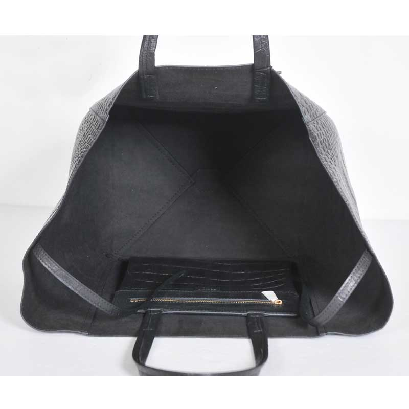 Celine Cabas Phantom In Croc Black 22106 - Replica Handbags ...