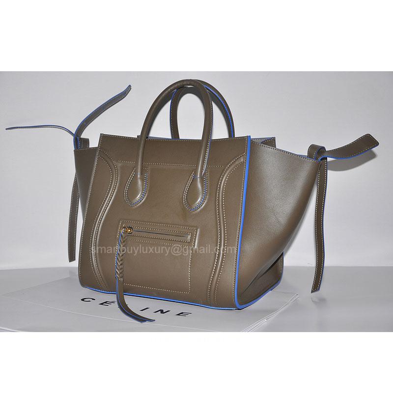 celine phantom gray gu4t  Fake Celine Phantom Luggage Bag in Calfskin Gray with Blue Piping