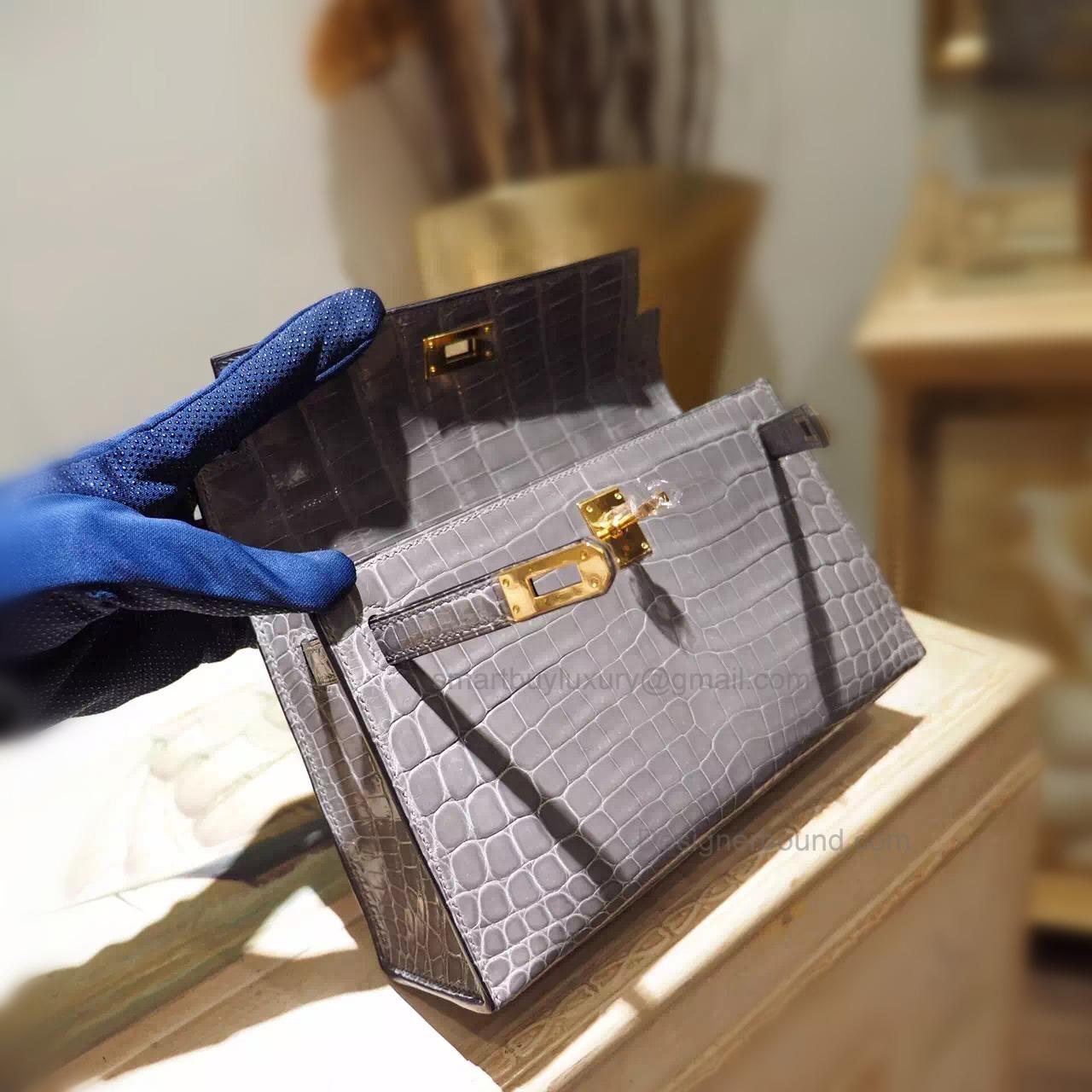 523b5a4e137e ... top quality hermes mini kelly 22 pochette bag in ck81 gris tourterelle  shining nile croc ghw