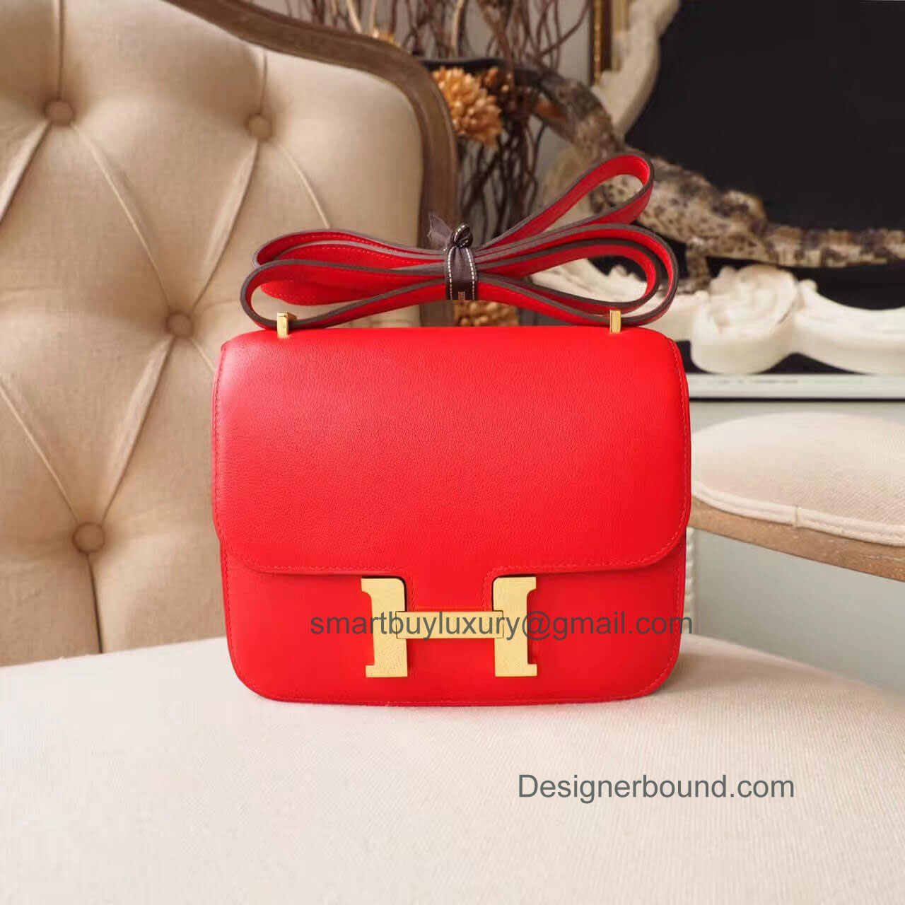 Hermes Mini Constance 18 in b5 Rouge Tomate Swift GHW
