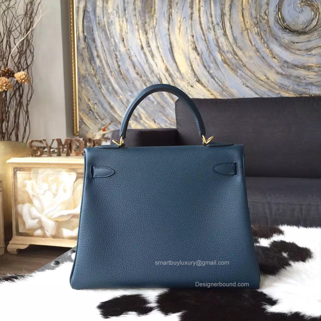 Hermes Kelly 32 Bag Colvert 1p Togo Leather Handstitched Gold hw -
