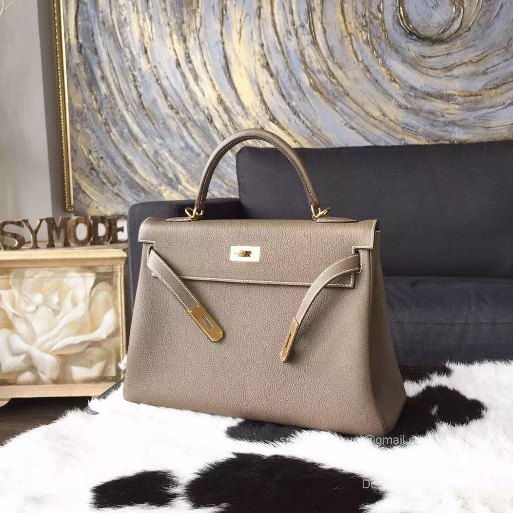 Hermes Kelly 32 Bag Etoupe CK18 Togo Leather Handstitched Gold hw -