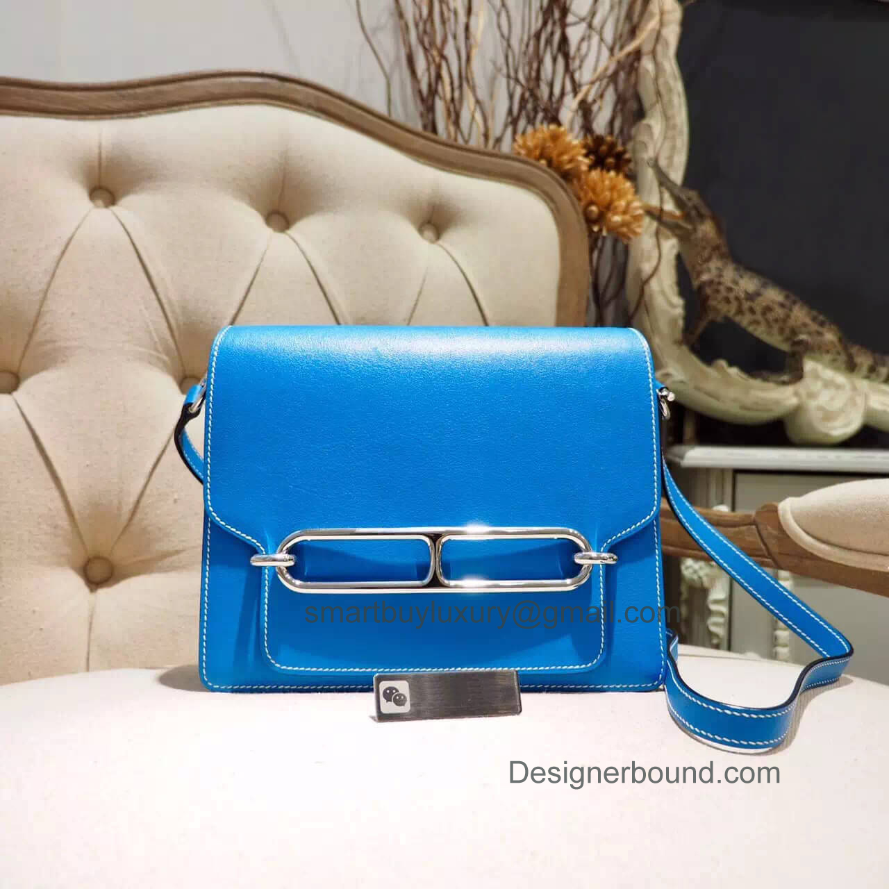 Hermes Roulis 23 White Stitching Bag in Blue Hydra Evercolor GHW