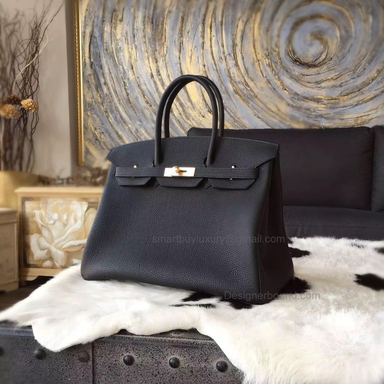 4c69582f316 Hand Stitched Hermes Birkin 35 Bag in Bicolored ck89 Noir Togo Calfskin GHW  -