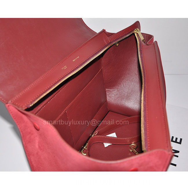 Celine Trapeze Fake Bag Suede in Burgundy - Replica Celine