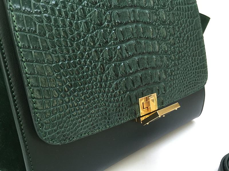 Ultimate Replica Celine Small Trapeze Bag in Green Croc Embossed ...