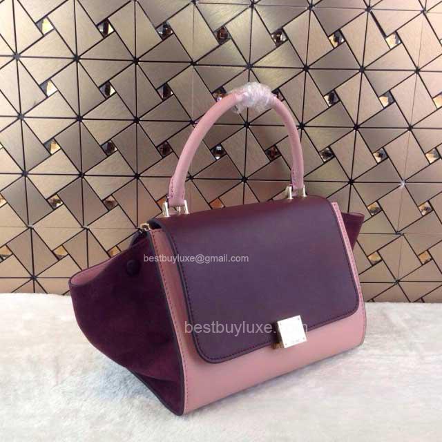 celine bag for less - Fake Celine Trapeze Handbag Suede in Burgundy Calfskin - Replica ...