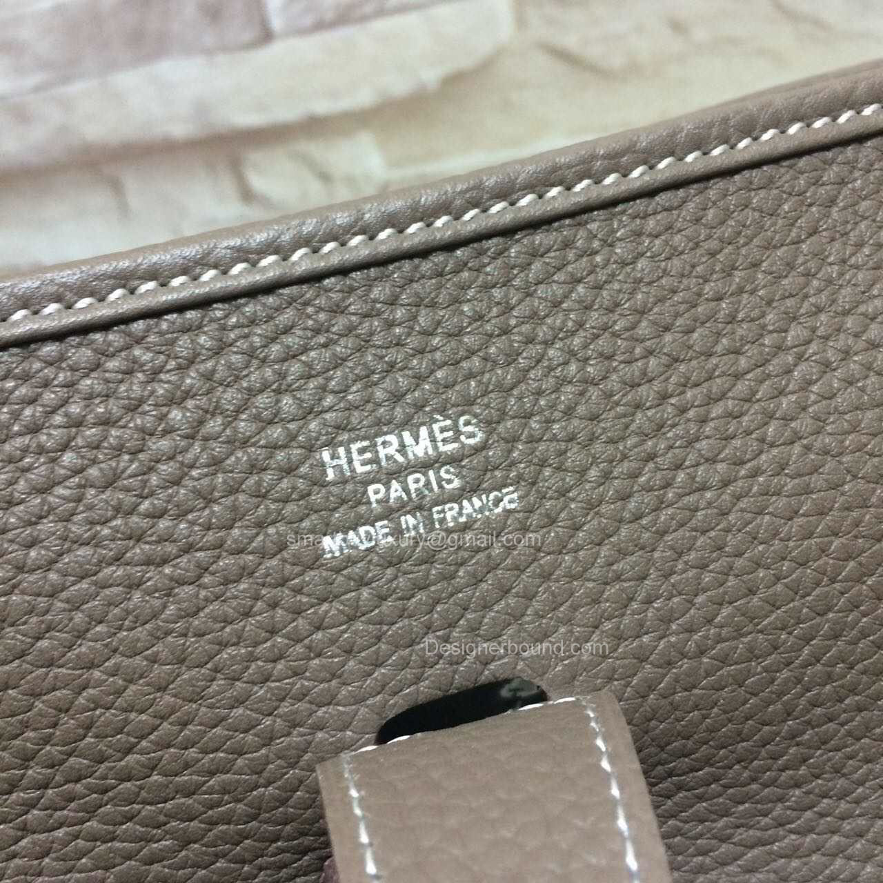 Hermes Evelyne III Bag GM in Etoupe Togo Leather -