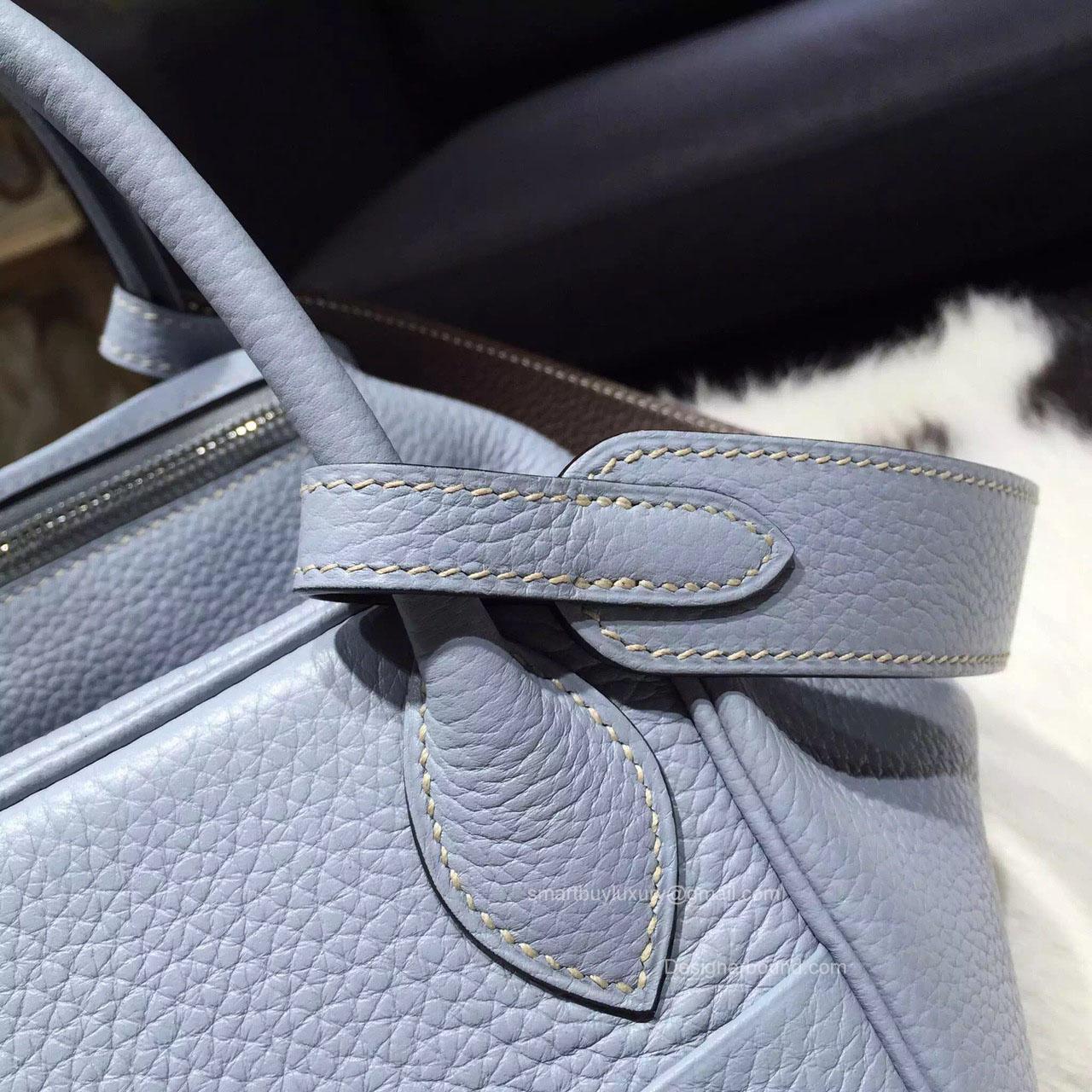 Hermes Lindy 30 Bag in Bi-Color Bleu Lin CKJ7 Taurillon Clemence ...